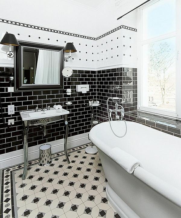 Bad Schwarz Weiß Gefliest Einfach On Andere Innerhalb Badezimmer Ideen In 45 Inspirierende Beispiele 1