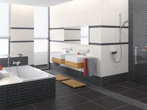 Badezimmer Anthrazit Weiß Fliesen