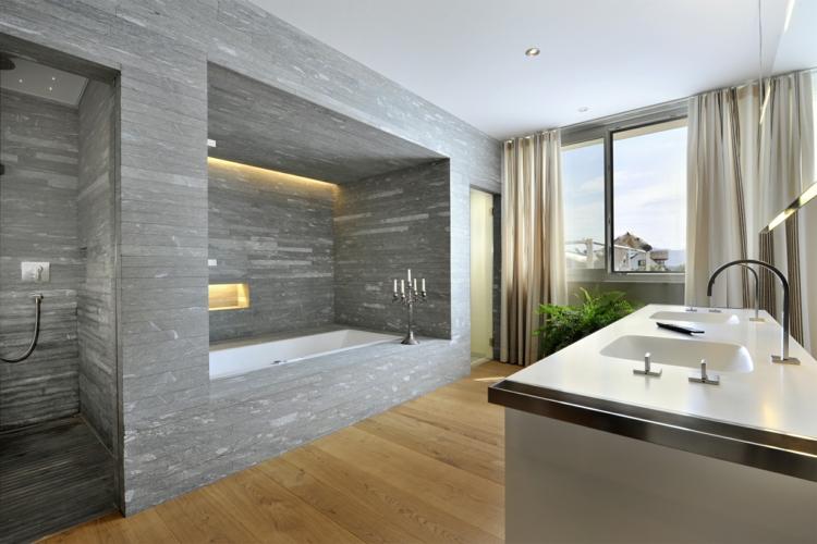 Badezimmer Design Nett On Für 105 Ideen Stein Und Holz Kombinieren 4