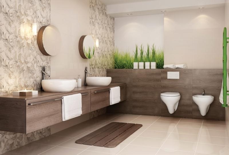 Badezimmer Grau Beige Kombinieren Zeitgenössisch On überall Entwurf Tapete Auf 4