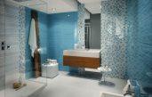 Badezimmer Grau Mit Mosaik Blau