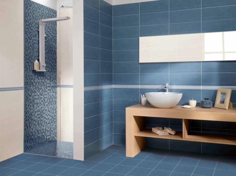 Badezimmer Grau Mit Mosaik Blau Interessant On Auf Kleines Design Duschkabine Aus Glasteinen Und 8