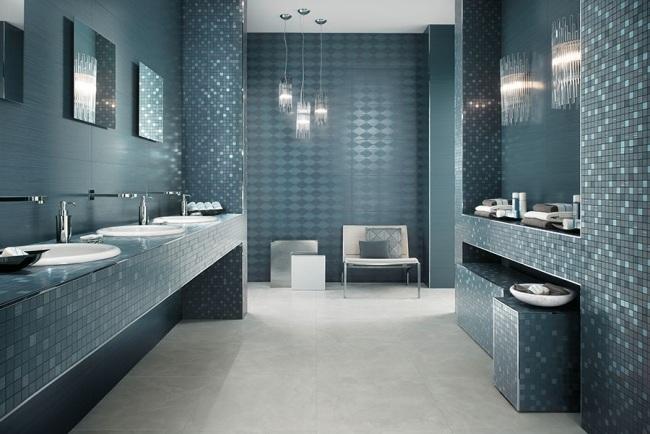 Badezimmer Grau Mit Mosaik Blau Nett On Beabsichtigt Keyword Formatzweck Auf 1