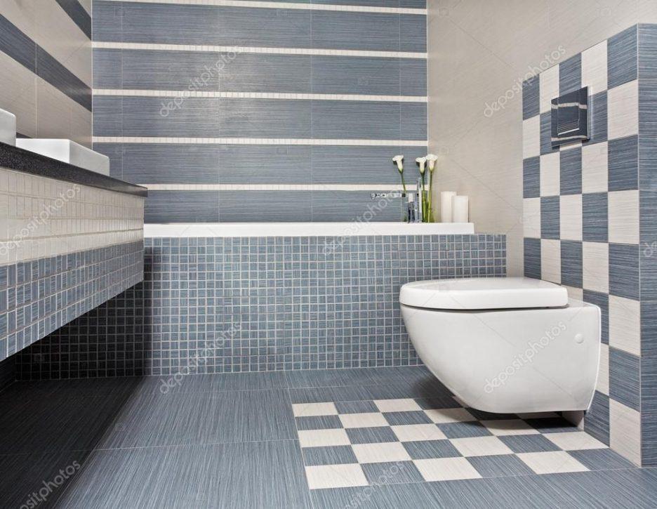 Badezimmer Grau Mit Mosaik Blau Nett On Und Design 9