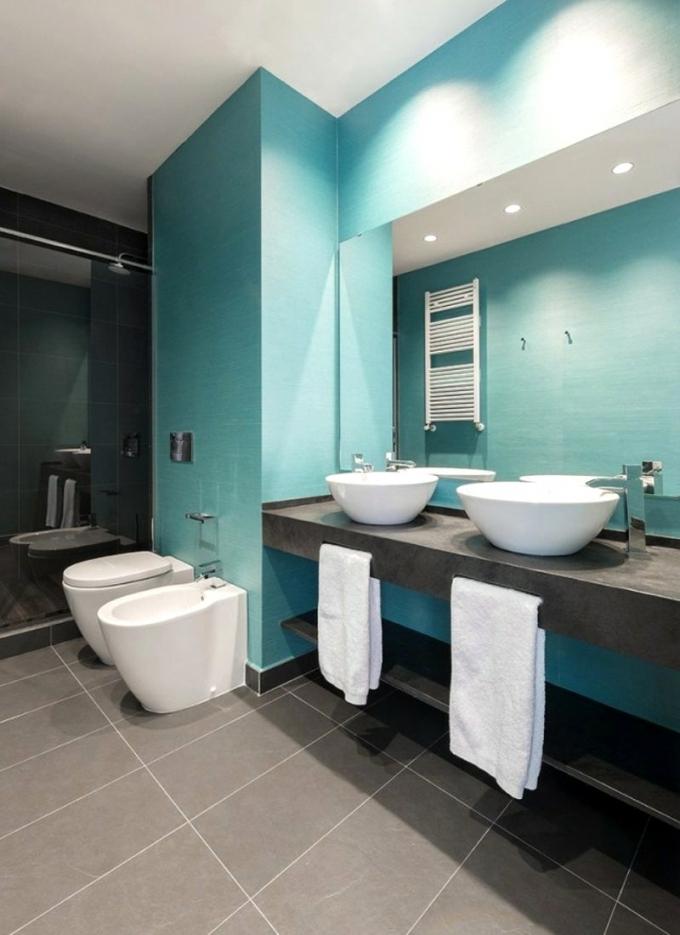 Badezimmer Grau Mit Mosaik Blau Perfekt On Für Uncategorized Herrlich 4