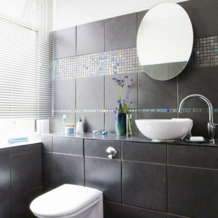 Badezimmer Grau Mit Mosaik Blau Schön On überall Bad Malerei 5