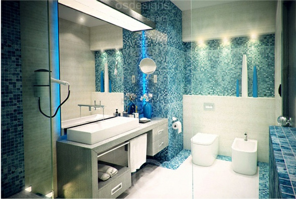 Badezimmer Grau Mit Mosaik Blau Wunderbar On In Interessant Designs Auf 6
