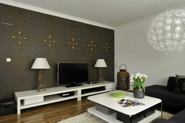 Braune Tapete Wohnzimmer