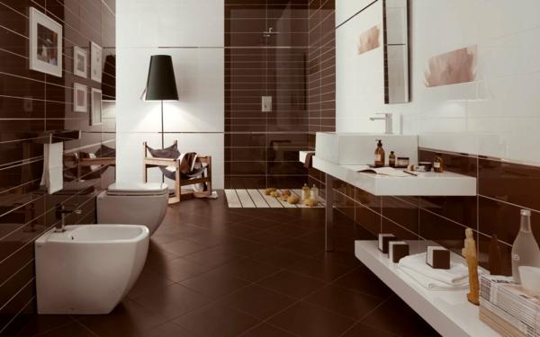 Fliesen Badezimmer Braun Modern On Auf Weiss Wohndesign 1