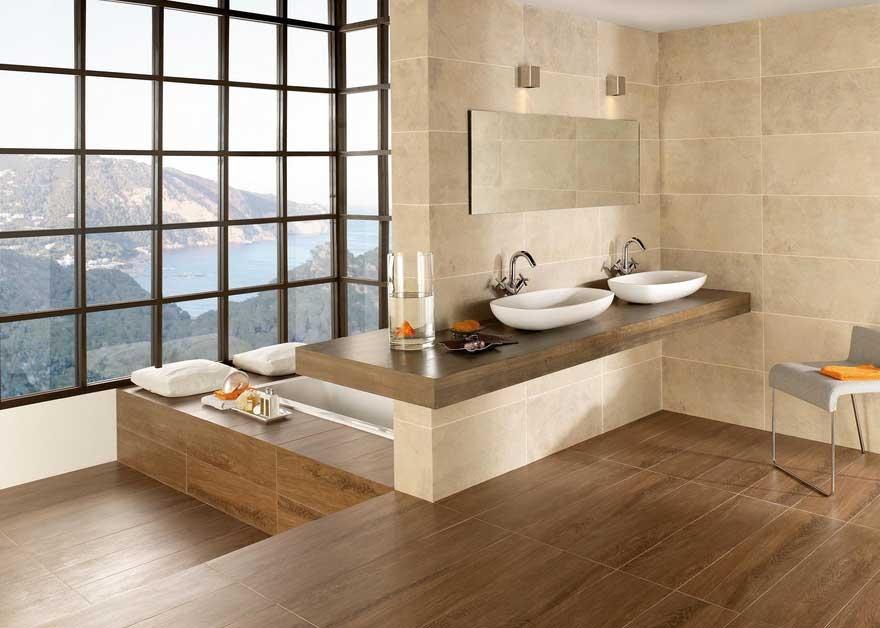 Gestaltung Badezimmer Interessant On Beabsichtigt Design In Holzoptik Kleines Bad Fliesen Holz 2