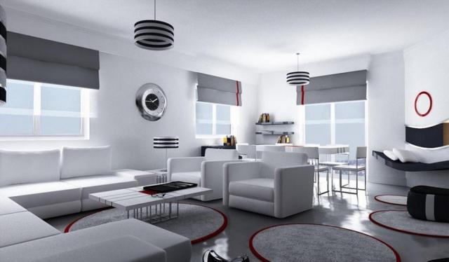Grau Weißes Wohnzimmer Bemerkenswert On Innerhalb Einrichten Ideen In Weiß Schwarz Und 1