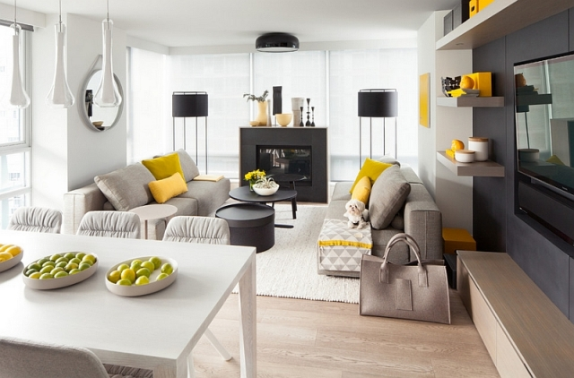 Graues Wohnzimmer Akzente Erstaunlich On Mit Stunning Grau Und Gelb Photos House Design Ideas 3