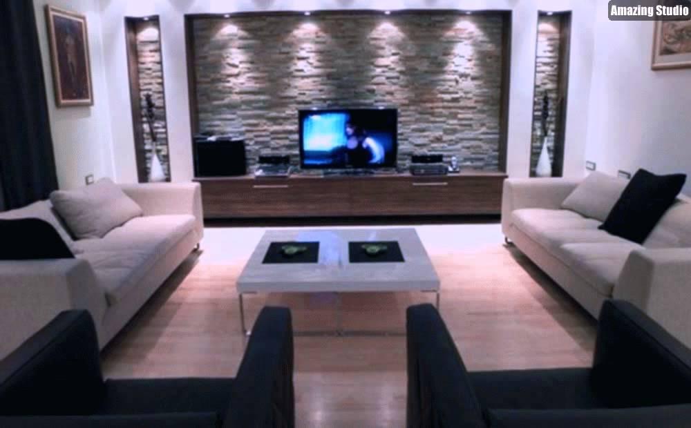 Ideen Für Wohnzimmer Bescheiden On In Bezug Auf Zeitgenössisch Wohnzimmerwand Natursteinwand Im 7