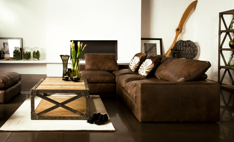 Ideen Wohnzimmer Braune Couch