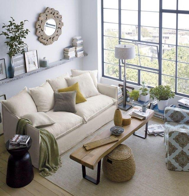 Kleines Wohnzimmer Farbe Großartig On überall Helle Farben Fensterfront Couchtisch Sitzbank 2
