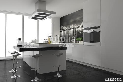 Küche Mit Kochinsel Modern Nett On In Bezug Auf Funktional Weiss Einbauküche Stockfotos 8