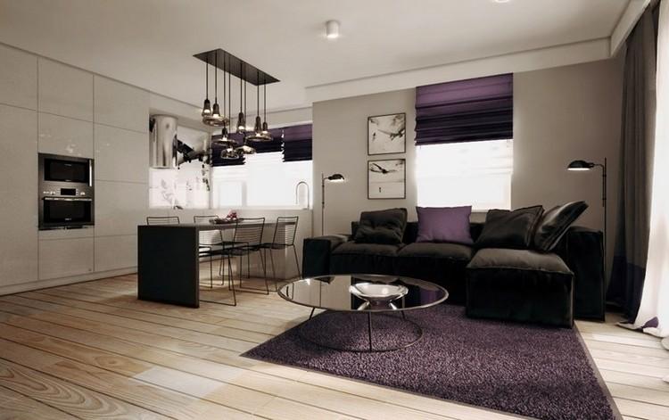 Lila Schwarz Wohnzimmer Kreativ On Für Modernes Mit Dunklem Sofa Einrichten 55 Ideen 2