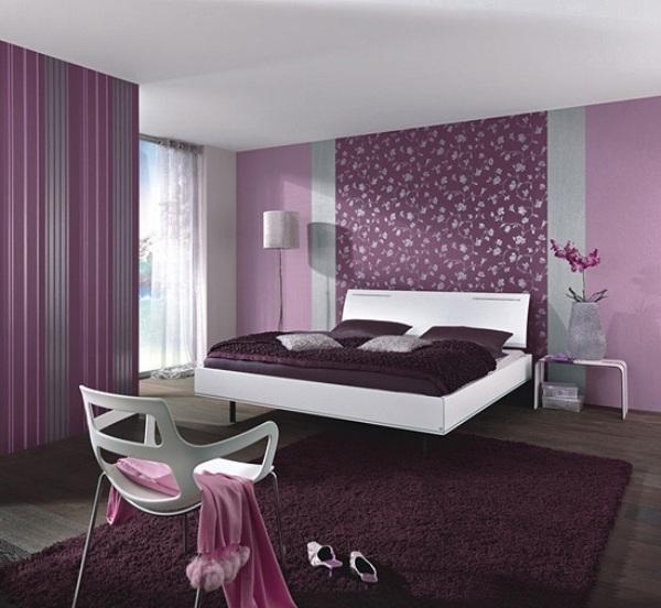 Lila Tapete Schlafzimmer