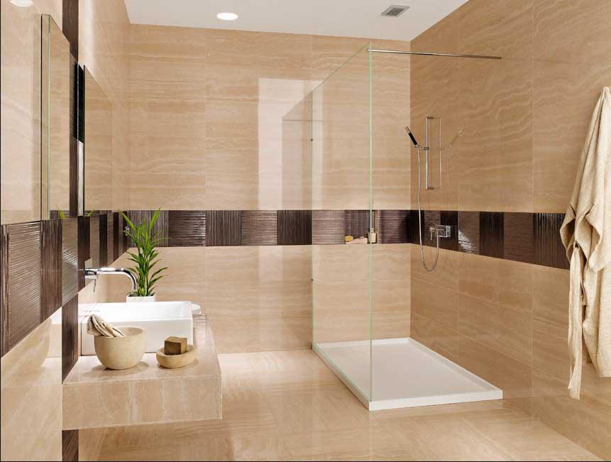 Moderne Badezimmer Fliesen Beige Charmant On Und Wohndesign 1