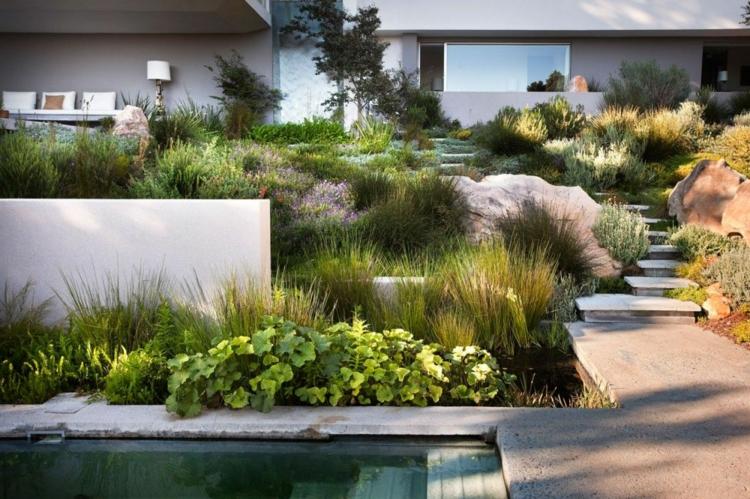 Moderner Garten Mit Gräsern Unglaublich On Modern In Bezug Auf Stauden Und Sträucher Für Gute Struktur 3