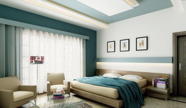 Schlafzimmer Blau Beige