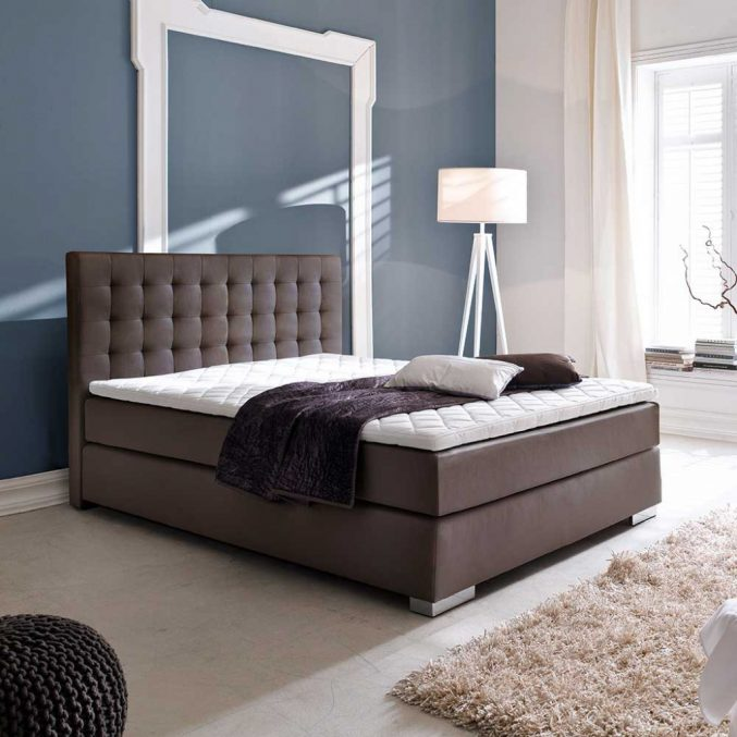 Schlafzimmer Modern Braun Boxspringbett Exquisit On In Uncategorized Kühles Mit 9
