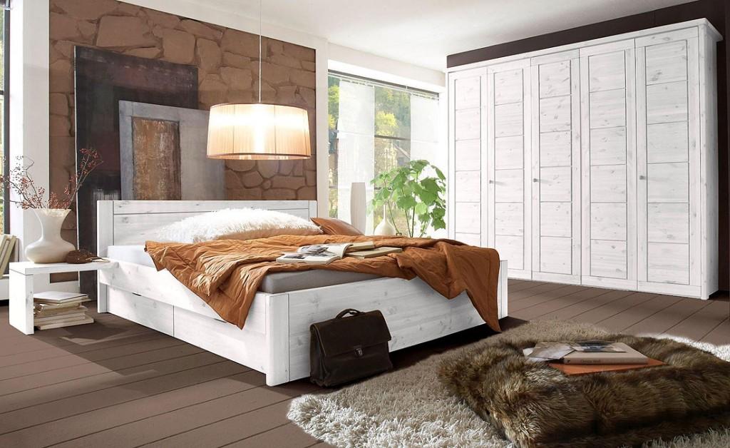 Schlafzimmer Weiß Landhausstil Glänzend On In 4teilig Kiefer Massiv Lasiert 3