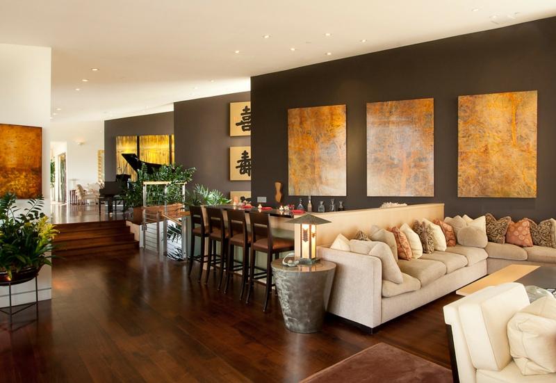 Wandgestaltung Braun Ideen Modern On Beabsichtigt In 50 Wohnzimmer Wohnideen 7