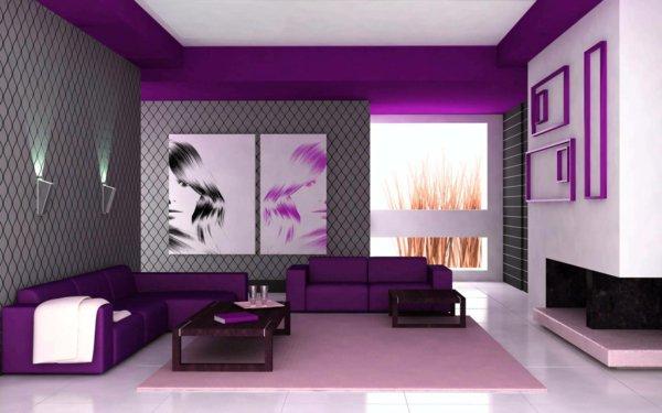 Wohnideen Wohnzimmer Lila Herrlich On Ideen Beabsichtigt Wandgestaltung Entzückend Grau Wohndesign 7