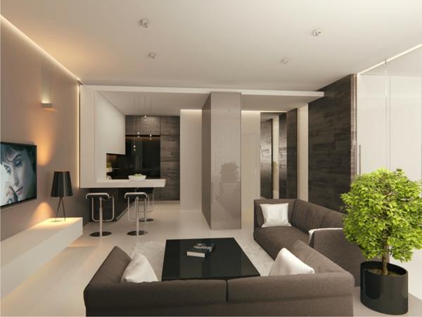 Wohnzimmer Braun Weiss Modern On In Bezug Auf Schwarz Wohndesign 7