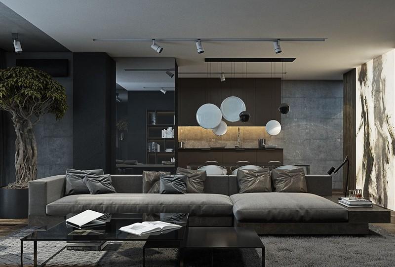 Wohnzimmer Grau Charmant On Beabsichtigt In Und Schwarz Gestalten 50 Wohnideen 4