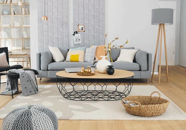 Wohnzimmer Grau Holz