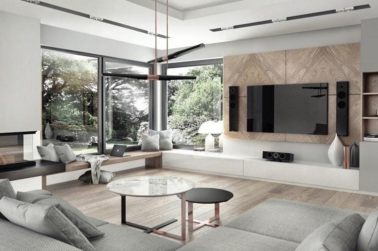 Wohnzimmer Grau Holz Kreativ On In Bezug Auf Wandgestaltung Mit Tapete Beispiele 5