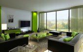 Wohnzimmer Schwarz Grün