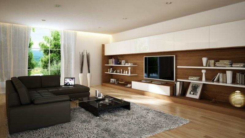 Wohnzimmer Weiß Braun Schwarz