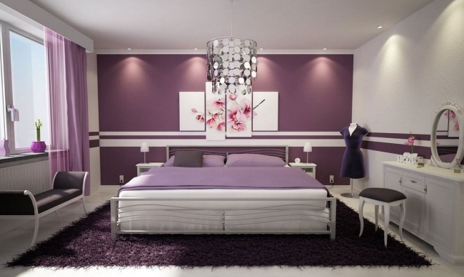 Zimmer Lila Weiß Streichen