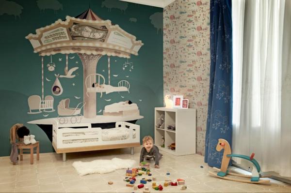 Babyzimmer Wandgestaltung Wunderbar On Andere Und Süße Farben Im Kinderzimmer 8