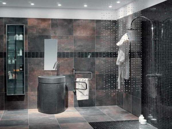 Bad Braun Grau Bemerkenswert On In Bezug Auf Fein Fliesen Design Badezimmer Zierlich 7