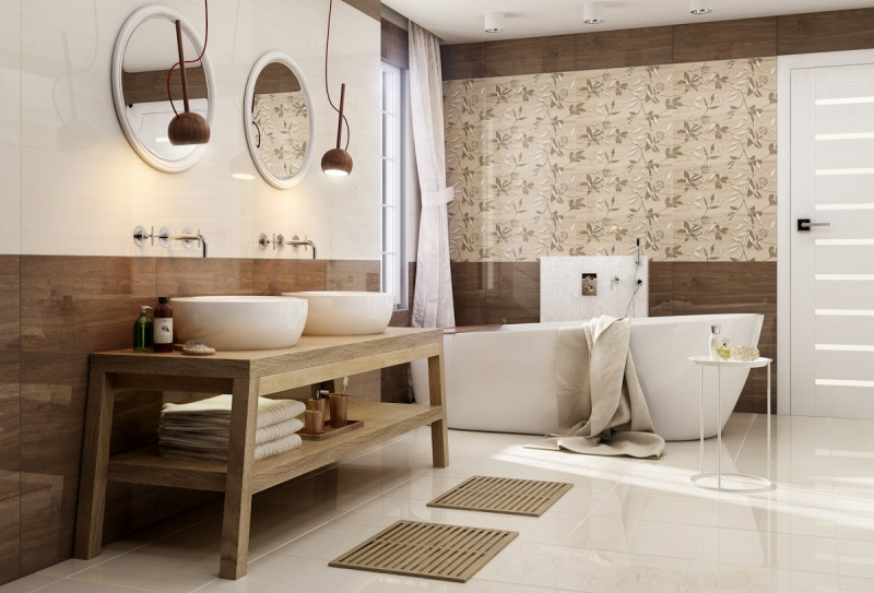 Bad Gestalten Braun Glänzend On Mit Badezimmer In Beige Modern Tipps Und Ideen 7