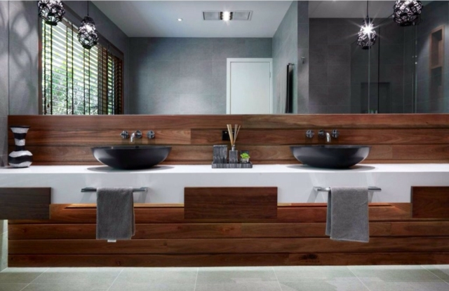 Bad Ideen Holz Ausgezeichnet On Auf 105 Badezimmer Design Stein Und Kombinieren 8