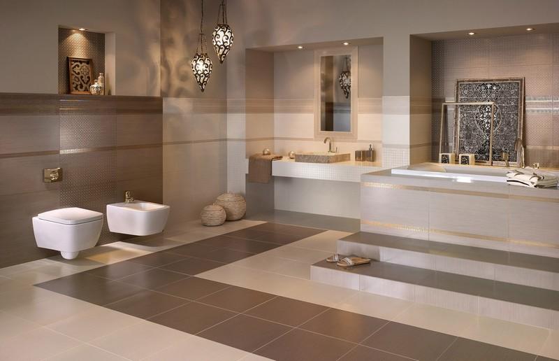 Badezimmer Fliesen Braun Stilvoll On Beabsichtigt Bad In Und Beige Die Besten 4