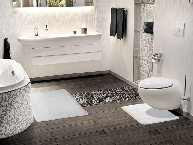 Badezimmer Grau Braun Glänzend On überall Fliesen Wohndesign 3