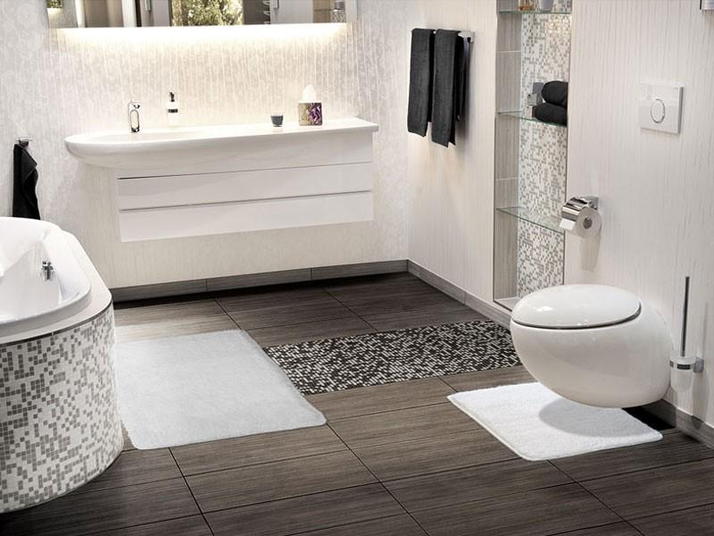 Badezimmer Ideen Weiß Braun Stilvoll On In Bezug Auf Tolles Fliesen Weiss Weisse 2