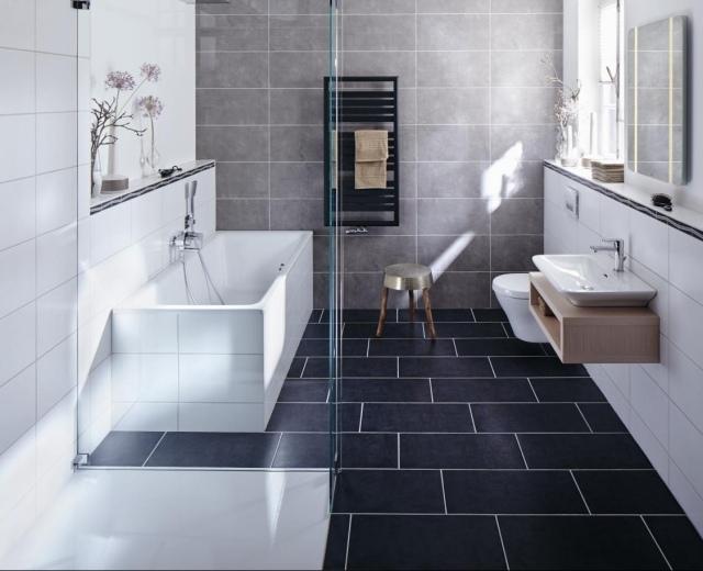 Badezimmer Modern Grau Wunderbar On In Bezug Auf Bad Schwarz Wei Wohndesign 3