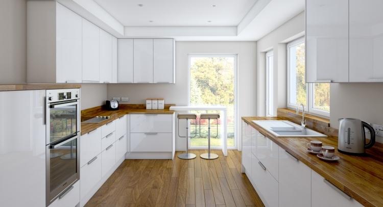 Beige Hochglanz Küche Und Holz Arbeitsplatte Frisch On Innerhalb Amocasio Com 6