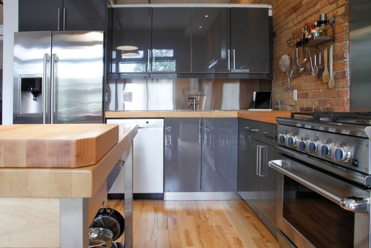 Beige Hochglanz Küche Und Holz Arbeitsplatte Imposing On Für Kuche Govconip Com 8