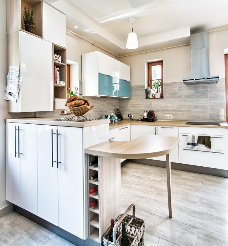 Beige Hochglanz Küche Und Holz Arbeitsplatte Nett On überall Arbeitsplatten Machen Die Moderne Gemütlich 9