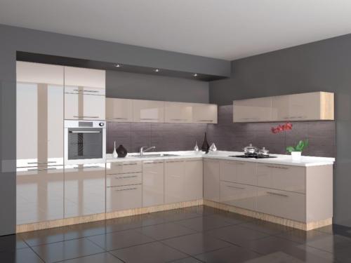 Beige Küche Perfekt On Mit Hochglanz L Form 360 X 220 Cm Ohne Geräte In 2