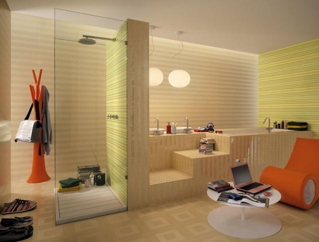 Beige Und Grün Perfekt On Innerhalb Badgestaltung Fliesen Glas Duschkabine Streifen Muster 3