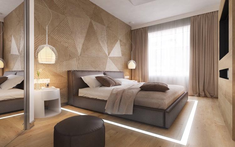 Braun Und Creme Schlafzimmer Zeitgenössisch On Für 30 Ideen Moderne Mit Lamellenwand 4